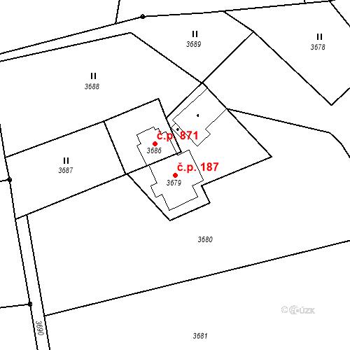 Katastrální mapa Stavební objekt Dolní Lutyně 187, Dolní Lutyně