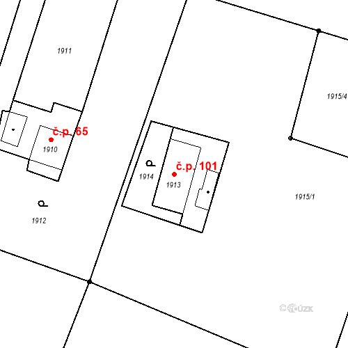 Katastrální mapa Stavební objekt Skřečoň 101, Bohumín