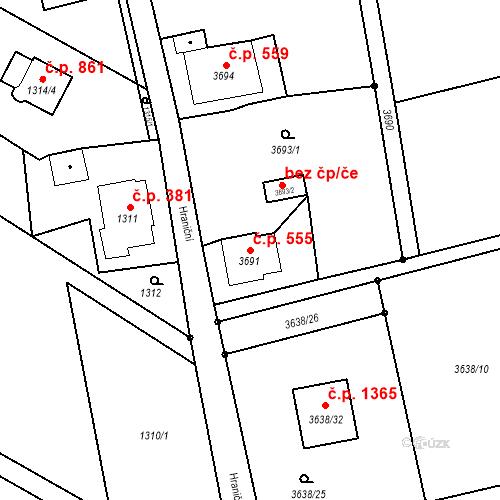 Katastrální mapa Stavební objekt Dolní Lutyně 555, Dolní Lutyně