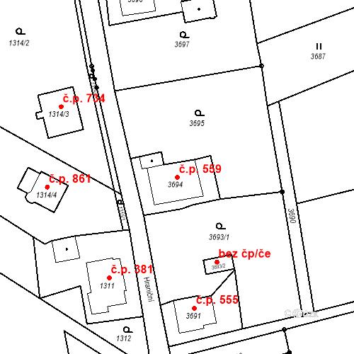 Katastrální mapa Stavební objekt Dolní Lutyně 559, Dolní Lutyně