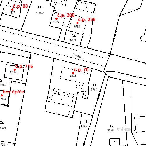 Katastrální mapa Stavební objekt Skřečoň 70, Bohumín