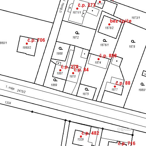 Katastrální mapa Stavební objekt Skřečoň 84, Bohumín