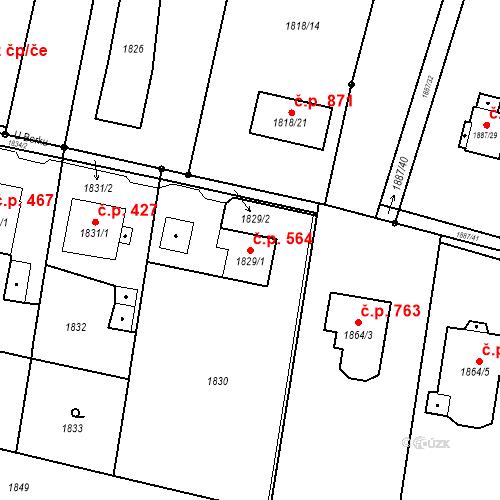 Katastrální mapa Stavební objekt Skřečoň 564, Bohumín