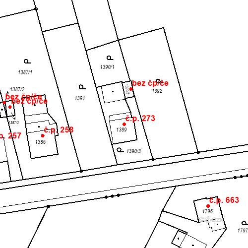 Katastrální mapa Stavební objekt Záblatí 273, Bohumín