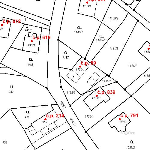 Katastrální mapa Stavební objekt Skřečoň 59, Bohumín