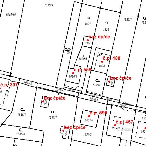 Katastrální mapa Stavební objekt Skřečoň 559, Bohumín