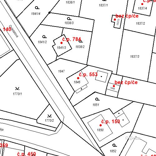 Katastrální mapa Stavební objekt Skřečoň 553, Bohumín
