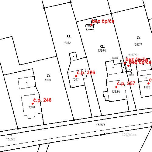 Katastrální mapa Stavební objekt Záblatí 326, Bohumín
