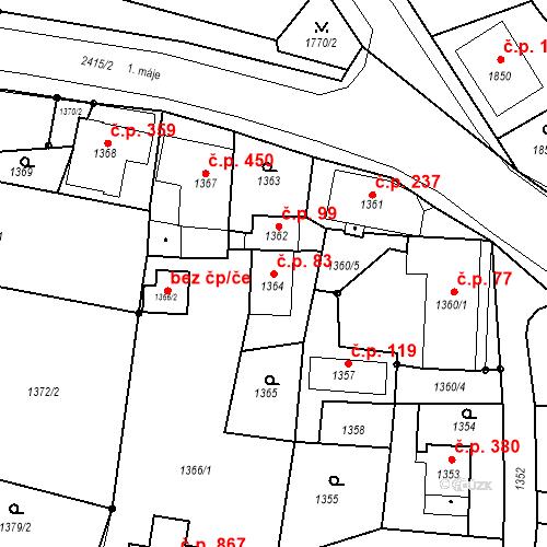 Katastrální mapa Stavební objekt Skřečoň 83, Bohumín