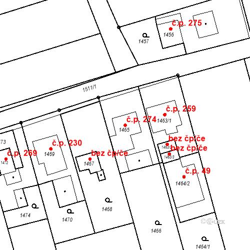 Katastrální mapa Stavební objekt Záblatí 274, Bohumín