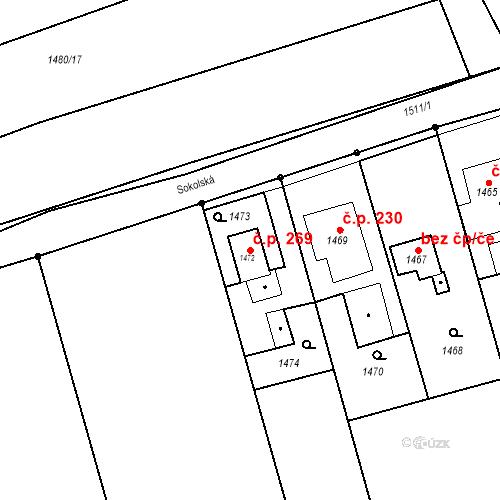 Katastrální mapa Stavební objekt Záblatí 269, Bohumín
