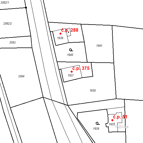 Katastrální mapa Stavební objekt Skřečoň 375, Bohumín
