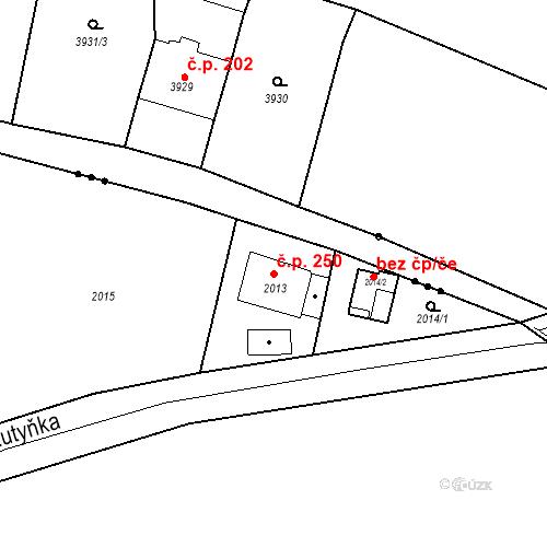 Katastrální mapa Stavební objekt Skřečoň 250, Bohumín