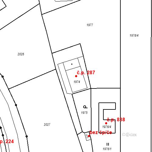 Katastrální mapa Stavební objekt Skřečoň 287, Bohumín