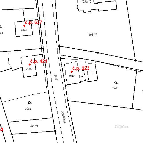 Katastrální mapa Stavební objekt Skřečoň 223, Bohumín