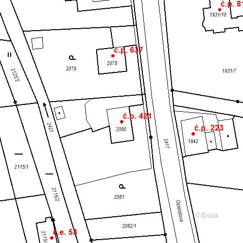 Katastrální mapa Stavební objekt Skřečoň 421, Bohumín