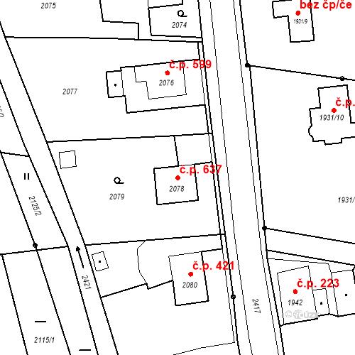 Katastrální mapa Stavební objekt Skřečoň 637, Bohumín