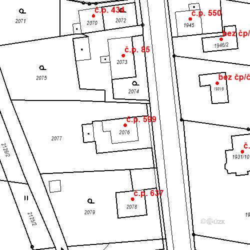Katastrální mapa Stavební objekt Skřečoň 599, Bohumín