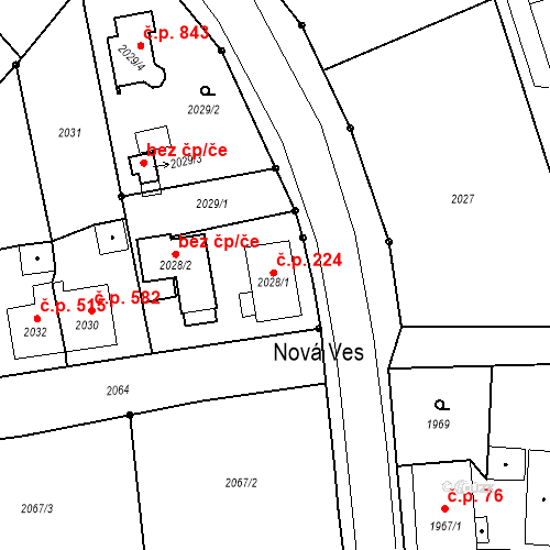 Katastrální mapa Stavební objekt Skřečoň 224, Bohumín