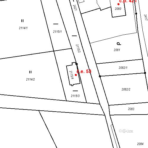 Katastrální mapa Stavební objekt Skřečoň 53, Bohumín