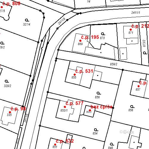 Katastrální mapa Stavební objekt Skřečoň 531, Bohumín