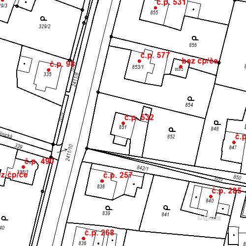 Katastrální mapa Stavební objekt Skřečoň 532, Bohumín
