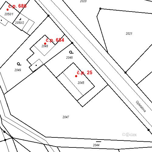 Katastrální mapa Stavební objekt Skřečoň 25, Bohumín