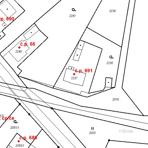 Katastrální mapa Stavební objekt Skřečoň 691, Bohumín
