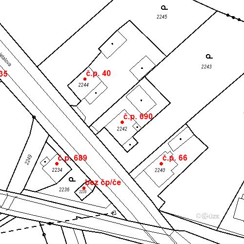 Katastrální mapa Stavební objekt Skřečoň 690, Bohumín