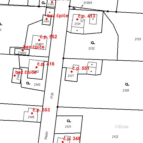 Katastrální mapa Stavební objekt Skřečoň 551, Bohumín