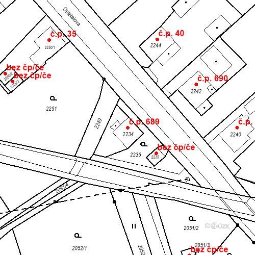 Katastrální mapa Stavební objekt Skřečoň 689, Bohumín