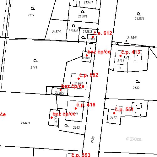 Katastrální mapa Stavební objekt Skřečoň 552, Bohumín