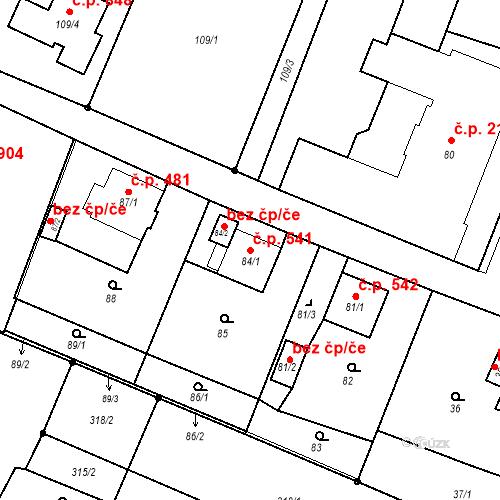 Katastrální mapa Stavební objekt Skřečoň 541, Bohumín