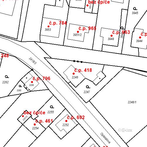 Katastrální mapa Stavební objekt Skřečoň 418, Bohumín