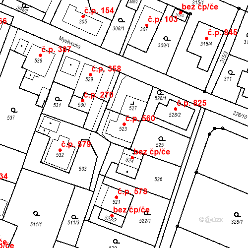 Katastrální mapa Stavební objekt Skřečoň 560, Bohumín