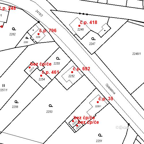 Katastrální mapa Stavební objekt Skřečoň 692, Bohumín