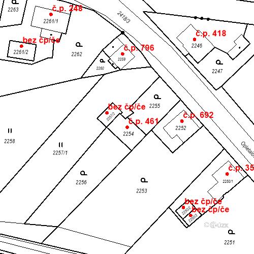 Katastrální mapa Stavební objekt Skřečoň 461, Bohumín