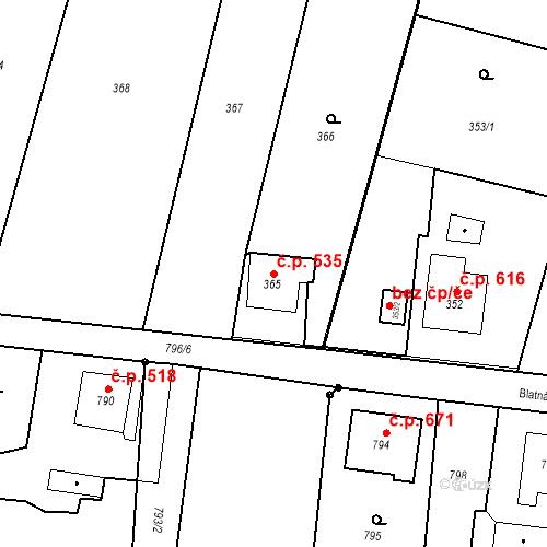 Katastrální mapa Stavební objekt Skřečoň 535, Bohumín