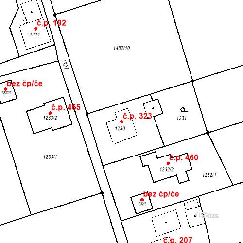 Katastrální mapa Stavební objekt Záblatí 323, Bohumín