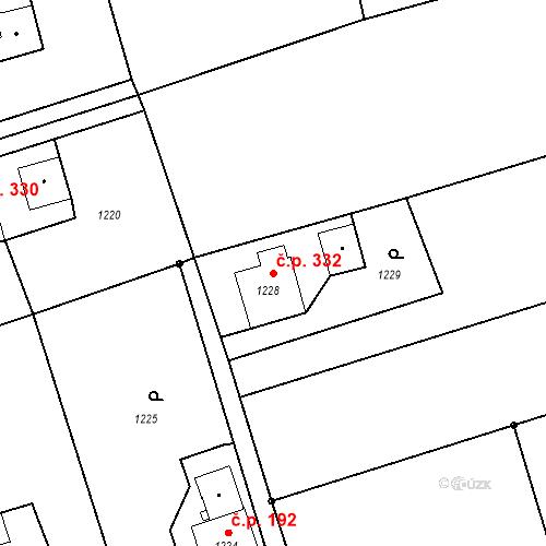 Katastrální mapa Stavební objekt Záblatí 332, Bohumín