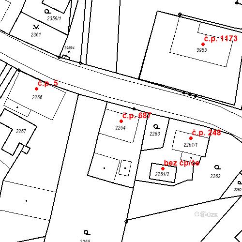 Katastrální mapa Stavební objekt Skřečoň 687, Bohumín