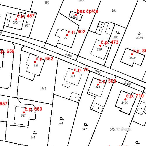 Katastrální mapa Stavební objekt Skřečoň 73, Bohumín