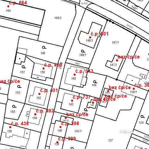 Katastrální mapa Stavební objekt Skřečoň 543, Bohumín