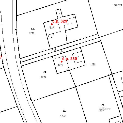 Katastrální mapa Stavební objekt Záblatí 330, Bohumín