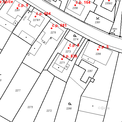 Katastrální mapa Stavební objekt Skřečoň 836, Bohumín