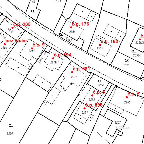 Katastrální mapa Stavební objekt Skřečoň 681, Bohumín