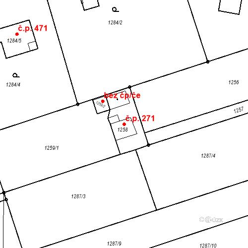Katastrální mapa Stavební objekt Záblatí 271, Bohumín