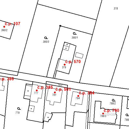 Katastrální mapa Stavební objekt Skřečoň 570, Bohumín