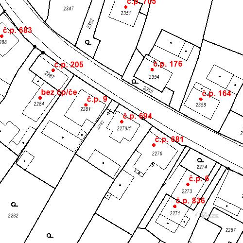 Katastrální mapa Stavební objekt Skřečoň 694, Bohumín