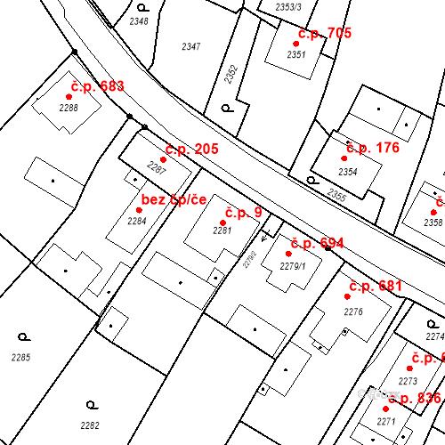 Katastrální mapa Stavební objekt Skřečoň 9, Bohumín